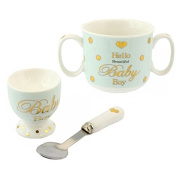 BABY BOY EGG CUP SPOON MUG CUPS CHRISTENING DAY GIFT SET PRESENT BOXED NEW BORN