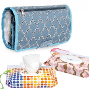 Ava & Kings Foldable Organising Nappy Changing Mat w/ 2pk Baby Wipes Pouches