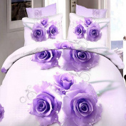 Nicehome 4pcs Suit 3D Purple Rose Flowers Reactive Dyeing Polyester Fibre Bedding Sets Queen Size