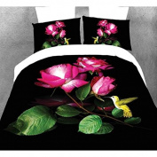 Nicehome 4pcs Suit 3D Rose Bird Polyester Fibre Reactive Dyeing Bedding Sets Queen Size