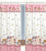 Tab Top Curtains & Tiebacks for Baby Nursery Children's Bedroom -Pink & White Owls