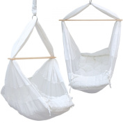Hammock for Baby | 100% Cotton | white colour | suspended cradle with wooden spreader | swing for newborns | suspended rocker chair for infant | small children hanging chair | Weight Capacity 15Kg