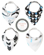 Kaydee Baby Bandana Drool and Dribble Bibs with Adjustable Snaps For Boys and For Girls (Hipster) 4 Pack Gift Set