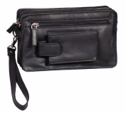 Mens Real Leather Wrist Bags A33 Black Travel Mobile Money Clutch Pouch