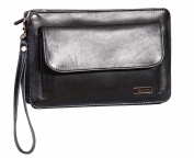 Mens Leather Wrist bag A7 Black Travel Passport Mobile Clutch Cab Money Bag