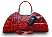 Made In Italy Womens Luxury Crocodile Embossed Genuine Leather Clutch Handbag Red