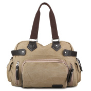 Wewod Medium Capacity Weekend Travel Duffle Bag Messenger Bag With a Shoulder Strap Canvas Material Vintage Style