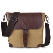 Wewod Mens Messenger Shoulder Bag Mini Weekend Travel Duffle Bag Canvas Material Vintage Style With Many Pockets