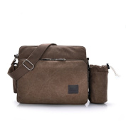 Wewod Mens Satchel Messenger Shoulder Bag with Lots of Compartment Canvas Material Vintage Style