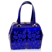 Valentino Orlandi Italian Designer Cobalt Blue Embroidered Leather Jewelled Bag