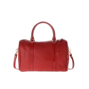 Bowler bag for women large top handles handbag leather made in Italy strap DUDU Red lacca