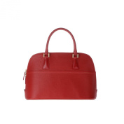Bowling bag for women made in Italy in genuine leather with strap 2 handles DUDU Red lacca