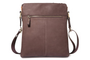 Tiding Nubuck Handbag for Men Brown Soft Shouler Genuine Leather Travel Bag 11321