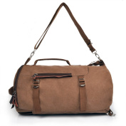 Hubitowis Mens Canvas Leather Holdall Travel Duffle Overnight Weekend Satchel Totes Bag Handbags