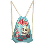 Canvas Strawberry Skeleton Printed School Drawstring Bags Outdoor Sackpack Shopping Backpack