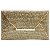 Highdas Charming Women Evening Party Bags Gold Sequins Bag Purse Clutch Handbags Envelope Pattern Shiny Solid Gold