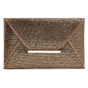Highdas Charming Women Evening Party Bags Gold Sequins Bag Purse Clutch Handbags Envelope Pattern Shiny Solid Coffee