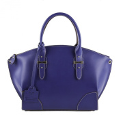 Shoulder bag, Alyssa Blue Leather, Dimensions in cm