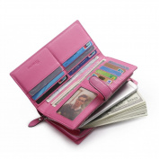 Teemzone Leather Woven Women Wallet Bifold with multiple credit cards slots, ID window & phone holder