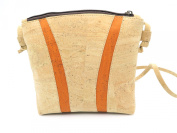 MB Cork - Woman Messenger Bag in Natural Cork - Natural Cork Colour/Orange Original Design Handmade BAG-53