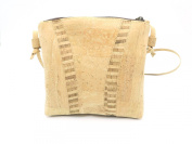 MB Cork - Woman Messenger Bag in Natural Cork - Natural Cork Colour/Natural Cork Colour Stripes Pattern- Original Design Handmade BAG-52