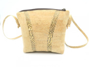 MB Cork - Woman Messenger Bag in Natural Cork - Natural Cork Colour/Light Snake Skin Pattern- Original Design Handmade BAG-50