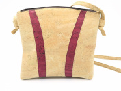MB Cork - Woman Messenger Bag in Natural Cork Natural Cork Colour/Dark Red- Original Design Handmade BAG-49