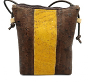 MB Cork - Woman Messenger Bag in Natural Cork Brown/Yellow - Original Design Handmade BAG-29