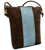 MB Cork - Woman Messenger Bag in Natural Cork Brown/Blue- Original Design Handmade BAG-31