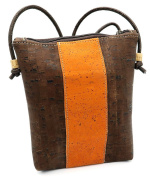 MB Cork - Woman Messenger Bag in Natural Cork Brown/Orange - Original Design Handmade BAG-30