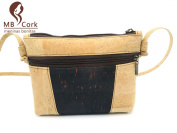 MB Cork - Woman Messenger Bag in Natural Cork Natural Cork Colour/Black and Red Speckles- Original Design Handmade BAG-48