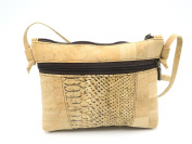 MB Cork - Woman Messenger Bag in Natural Cork Natural Cork Colour/Light Snake Skin Pattern- Original Design Handmade BAG-45