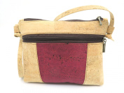 MB Cork - Woman Messenger Bag in Natural Cork Natural Cork Colour/Dark Red- Original Design Handmade BAG-42