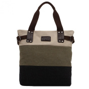 Women's Patchwork Canvas Handbag Colour Hit Messenger Bag Tote Shoulder Bag
