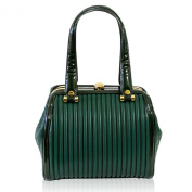 Valentino Orlandi Italian Designer Green Plisse Textured Leather Doctor Bag