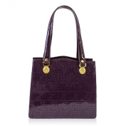 Valentino Orlandi Italian Designer Purple Greek Key Patent Leather Satchel Bag