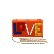 ANDAY Women's Rectangular Acrylic Lucite LOVE Evening Bag Party Clutch Handbag Orange
