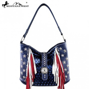 Montana West Western Shoulder Bag PU Leather Shoulder Handbag Colour USA American Flag Stars and Stripes