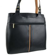 Ladies Soft LEATHER Two-Tone Shoulder Handbag by GiGi; Othello Collection Bag