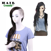 Creamily. Uta Genderbend Half Grey and Half Natural Black 2-Tone Dyed Hair Extensions Medium Long Curly Cosplay Wig