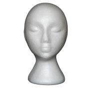 JaneDream Styrofoam Foam Mannequin Female Head Model Dummy Wig Glasses Hat Display Stand