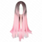 COSPLAZA Long Straight Two Tone Pink Black Anime Cosplay Wig Synthetic Hair