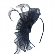 Navy Sinamay Looped Flower and Feathers Hair Alice Band Headband Fascinator