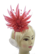 Stunning Large 25cm Ascot Hatinator in Dark Coral for Special Events