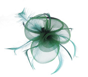 Green Mesh Fascinator on a Headband for Weddings, Races, Prom
