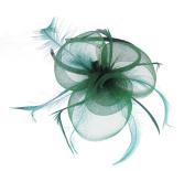 Green Mesh Fascinator on a Headband for Weddings, Races, Prom