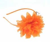 Bright Orange Ruffle Fascinator Headband for Wedding, Races, Prom