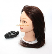 Elysee Star® Hairdressing 90% Professional Real Human Hair 18-60cm Brown Training Head Mannequin Head Hairdresser Trainer Head with Clamp For Practise Hair Cutting Braiding Setting College and Professional Use - UK SELLER