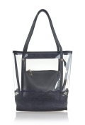 Hoxis Clear Tote Lace Embroidery Top Handle Bags with Interior Cosmetic Purse
