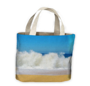 Waves Crashing Lovers Beach Seascape Tote Shopping Bag For Life